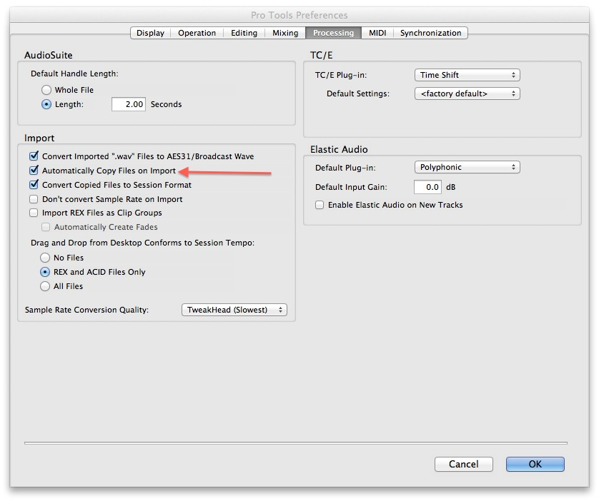 Copy Files to Session Folder With Import Audio in Pro Tools